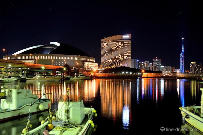 伊崎漁港からの百道の夜景