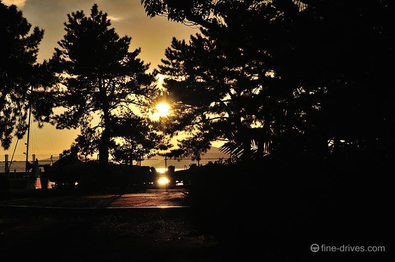 小戸公園の松林から見える夕日