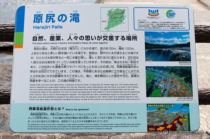 原尻の滝の案内看板