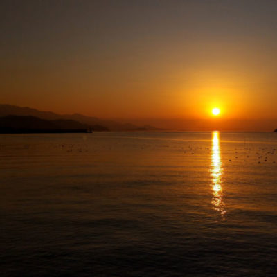 船越湾の夕日